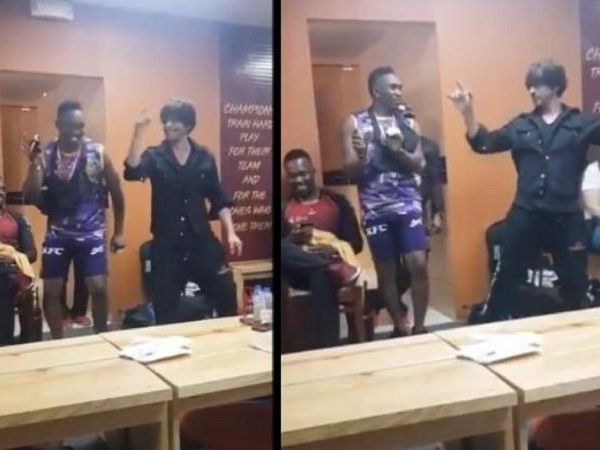 videos of shahrukh khan dancing with cricketer dwayne john bravo go viral